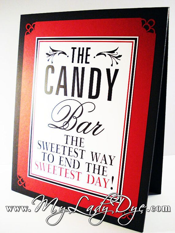 Tented Signature Drink Sign Guest Book Sign Candy Bar Sign Photo Booth Sign - Red Black White - The Jenley Collection - By My Lady Dye