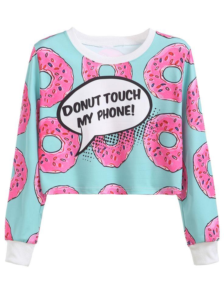 Sweat-shirt imprimé donuts manche longue-French SheIn(Sheinside)