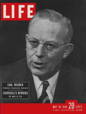 """Governor Earl Warren - Life Magazine, May 10, 1948 issue - Visit http://oldlifemagazines.com/the-1940s/1948/may-10-1948-life-magazine.html to purchase this issue of Life Magazine. Enter """"pinterest"""" at checkout for a 12% discount. - Governor Earl Warren"""