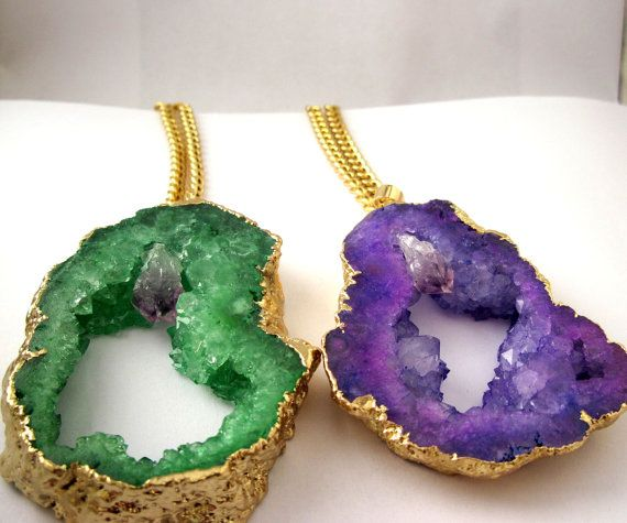 AgataDruzy  Grande collana Agata cristalli  di di Frammentidivetro