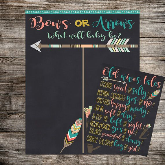Bows or Arrows Gender Reveal Vote and Old Wives by HomaliDesign