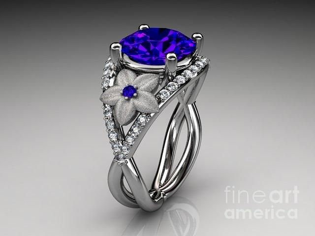 White Sapphire Engagement Rings | white gold diamond floral engagement ring blue Sapphire Jewelry by ...