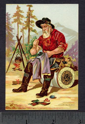 ۞ 1800's Antique California Gold Miner Coats Sewing Thread Advertising Trade Card