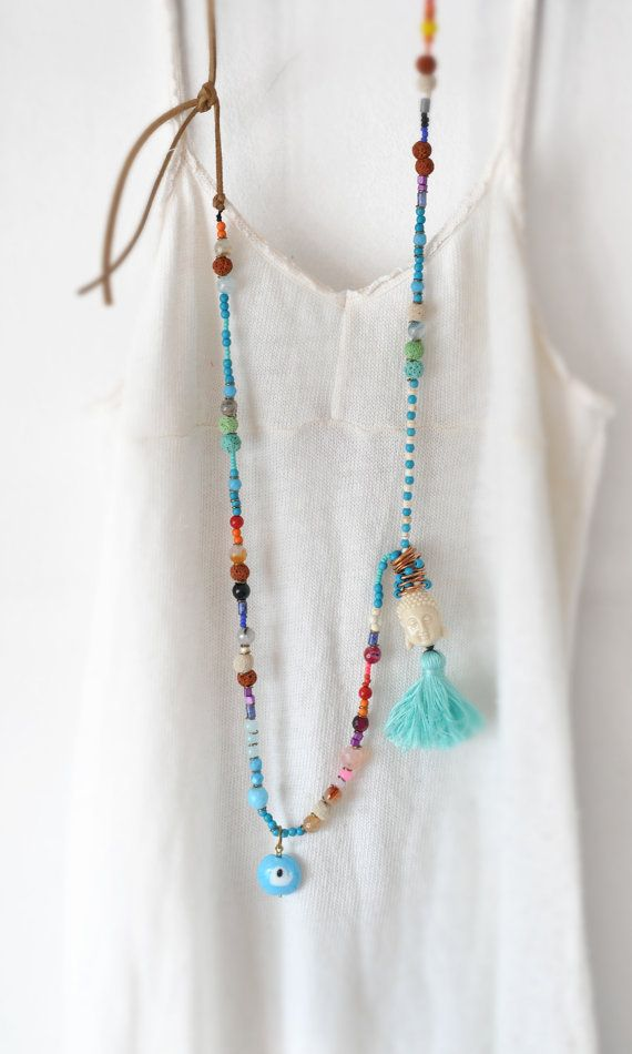 Long Bohemian Necklace  Beaded Boho Necklace  by stellacreations