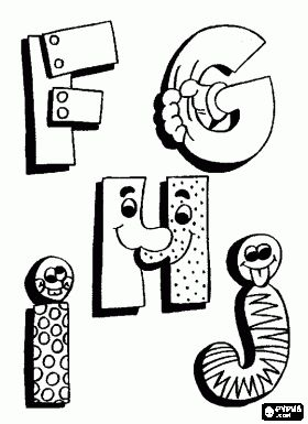 * F, G, H en J met grappige tekeningen