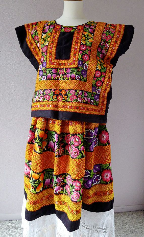 Mexican Collectors Tehuana Black Satin Traje / outfit floral + cadinella/geometric pattern + Boho Frida Kahlo MED/LRG