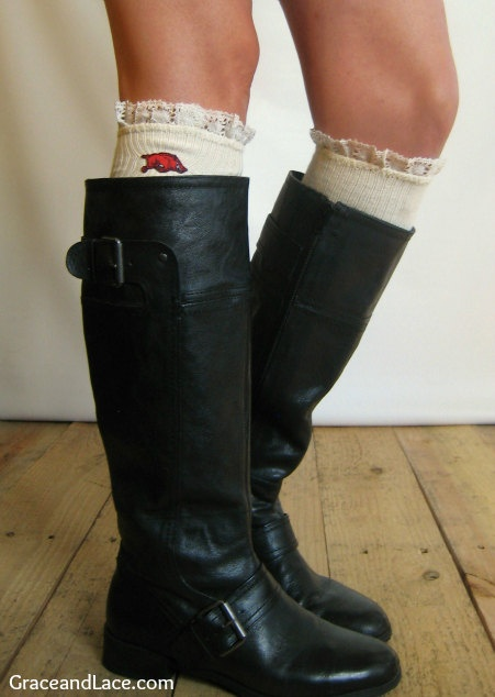 Lacey Fan UNIVERSITY OF ARKANSAS Boot Socks cable knit boot sock with lace and school logo - Collegiate boot socks (Item no.12-2). $35.00, via Etsy.
