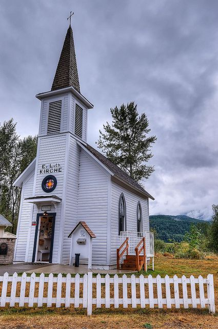 Elbe Church - Washington State. I have seen this little church. The writing is in German. While visiting there, went on the Mt. Rainier Railroad steam locomotive ride. It's a should do it once.