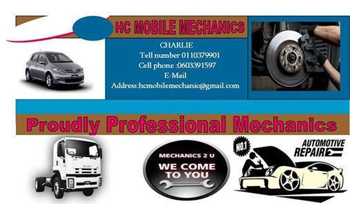 WELL EXPERIENCED MOBILE MECHANICS TEAM THAT CAN ASSIST YOU ON MOST REPAIRS TO MOST MAKES AT REASONABLE RATES----WE COME TO YOU AT ANY TIME OF REQUEST COVERING BOTH MINOR AND MAJOR REPAIRS---ROADSIDE AND ONSITE REPAIRS WELCOME---LOOK NO MORE WE WILL EVENT THE QUICKEST ARRIVAL ON SCENE APPLYING BEST EFFICIENT SOLUTIONS ON ---BMW---VOLVO---JEEP---LAND ROVER---TOYOTA--VW---NISSAN--HYUNDAI---OPEL---KIA--CHEV---MAZDA---FORD---ISUZU---TATA----FIAT---DAEWOO---ETC---WE CARRY THE HIGHEST RATE OF…