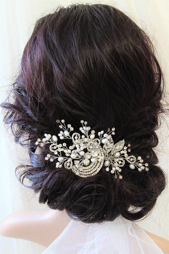 Art Deco Hair Comb Vintage Style Crystal Pearl Hair Comb Art Vintage Hair Combs Art Deco Hair Hair Comb Wedding