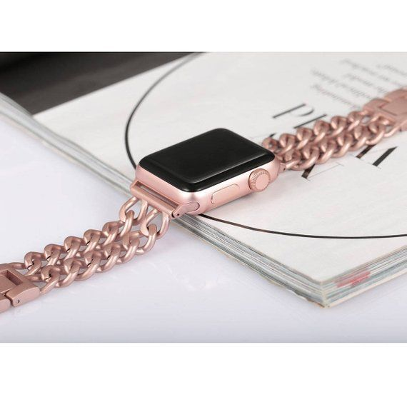Apple Watch Band 38mm 42mm Rose Gold Engraved Double Row Chain Apple Watch 38mm Apple Watch Band Apple Watch Bands