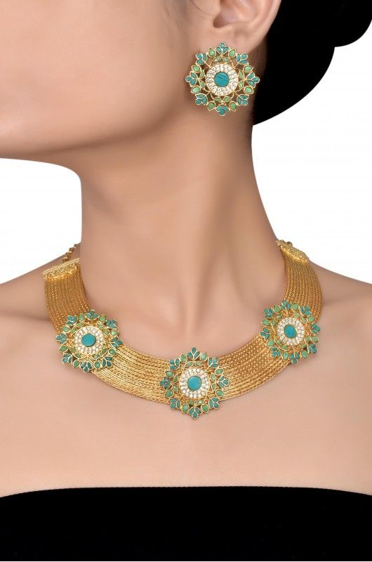 Silver Gold Plated Floral Turquoise Necklace Set
