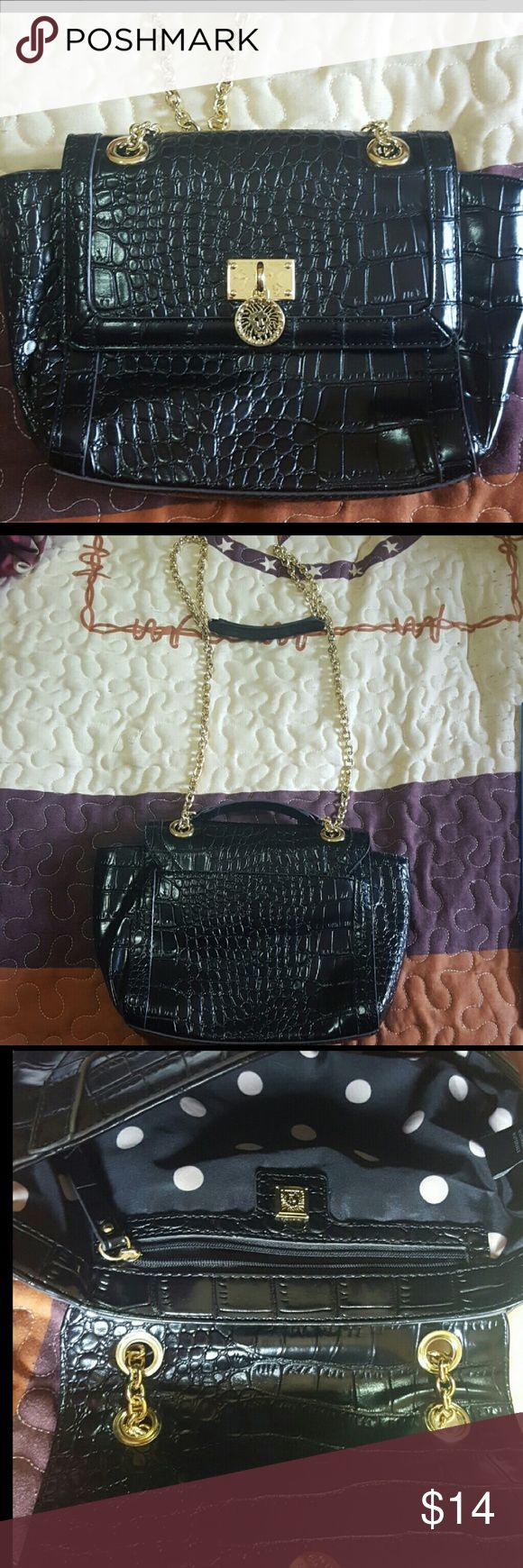 Gold pull chain mini shoulder bag As seen the chain can be pulled to make it longer or shorter approx 10x7.5 inside polka dot alligator skin texture. Anne Klein Bags Mini Bags