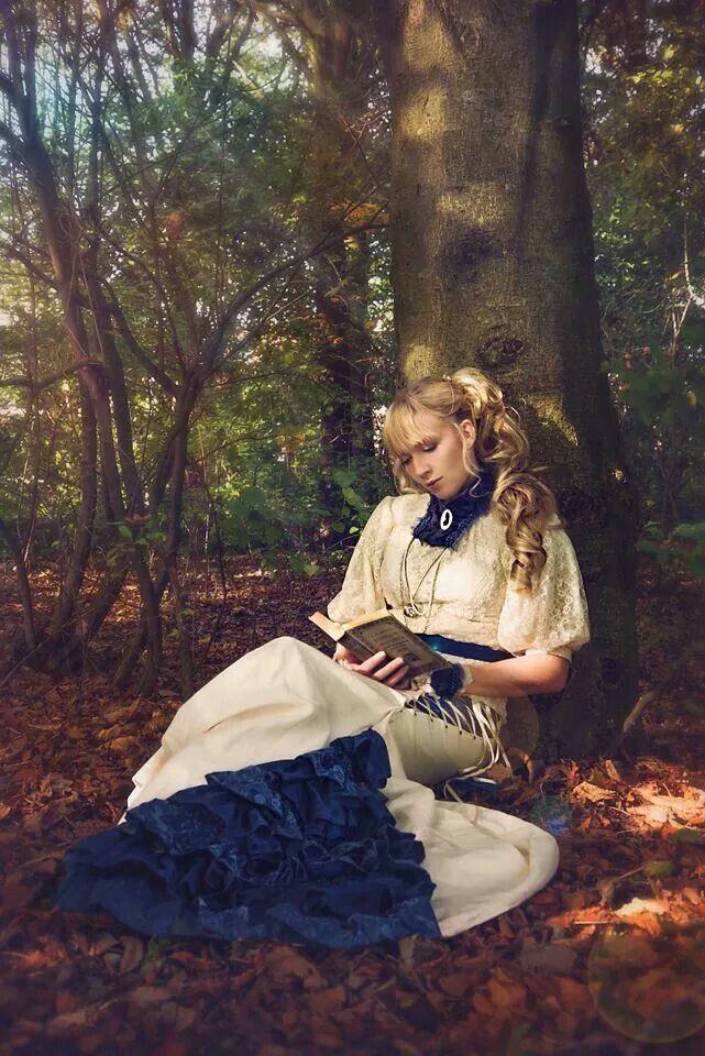 Lazy reading ♡ in my new blue steampunk dress :)