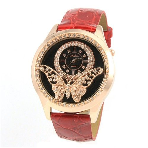 Fashion Butterfly Pattern Leather Women's Watches