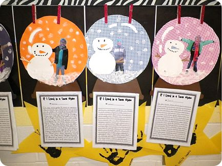 Snow globe writing.  The students get to be in the snow globe too!