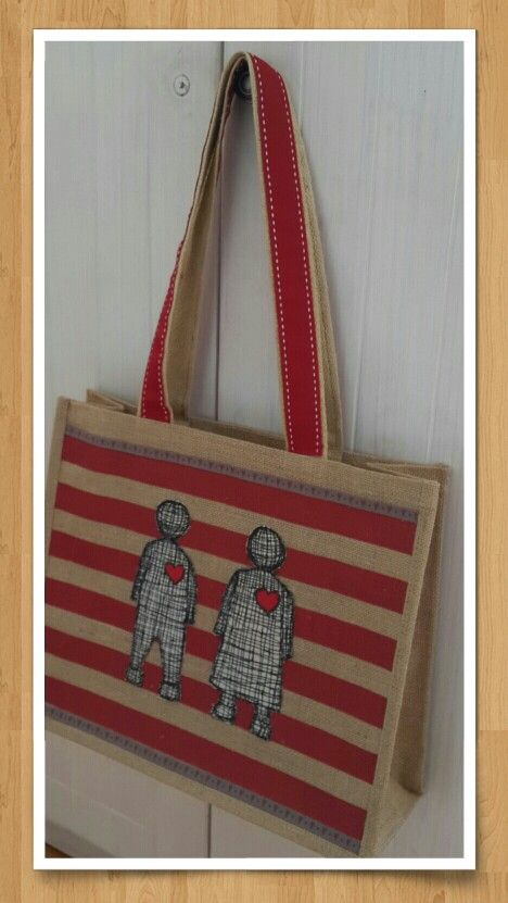 Hessian bags with Love dolls