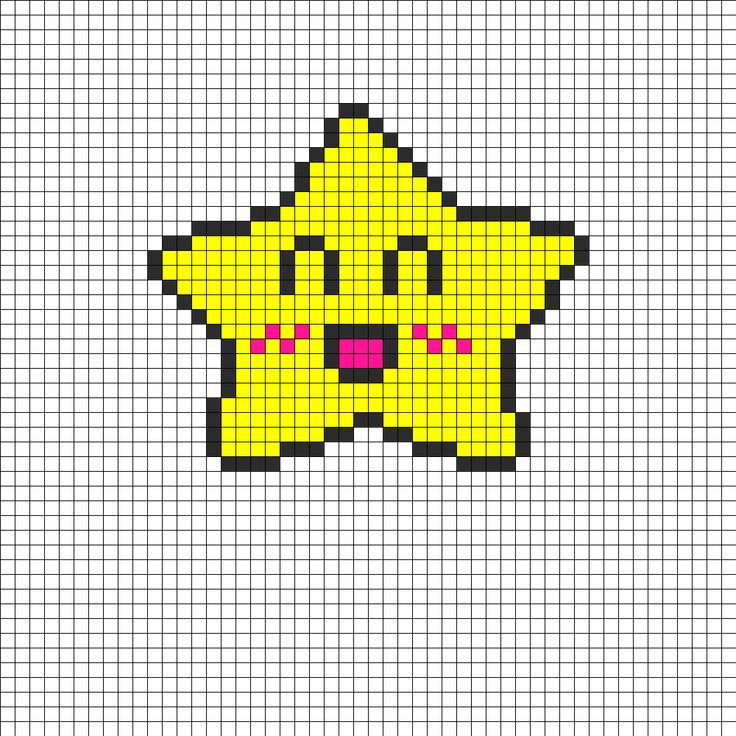 Crazy Happy Star Perler Bead Pattern