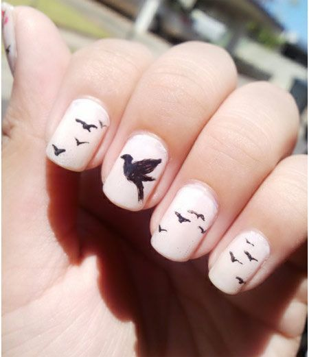 Peaceful Nail Art- i thought of the book divergent when I saw this... Haha Divergent fans ;)