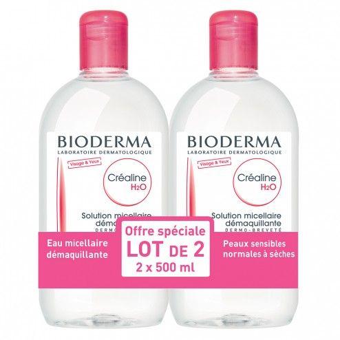 16€ BIODERMA CREALINE H2O SOLUTION MICELLAIRE SANS PARFUM 2X500ML
