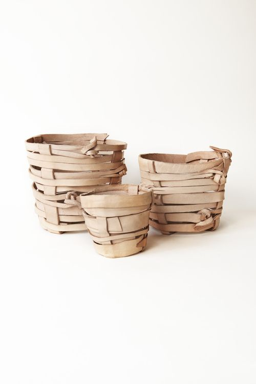 Leather pots ... great way to use left over leather.