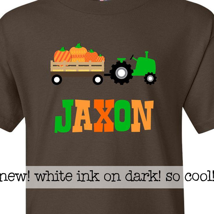 fall pumpkin patch kids personalized shirt DARK by zoeysattic, $24.50