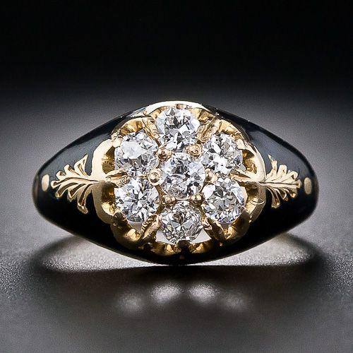 Victorian Diamond and Enamel Cluster Ring A rare, and original antique diamond ring, circa 1875.