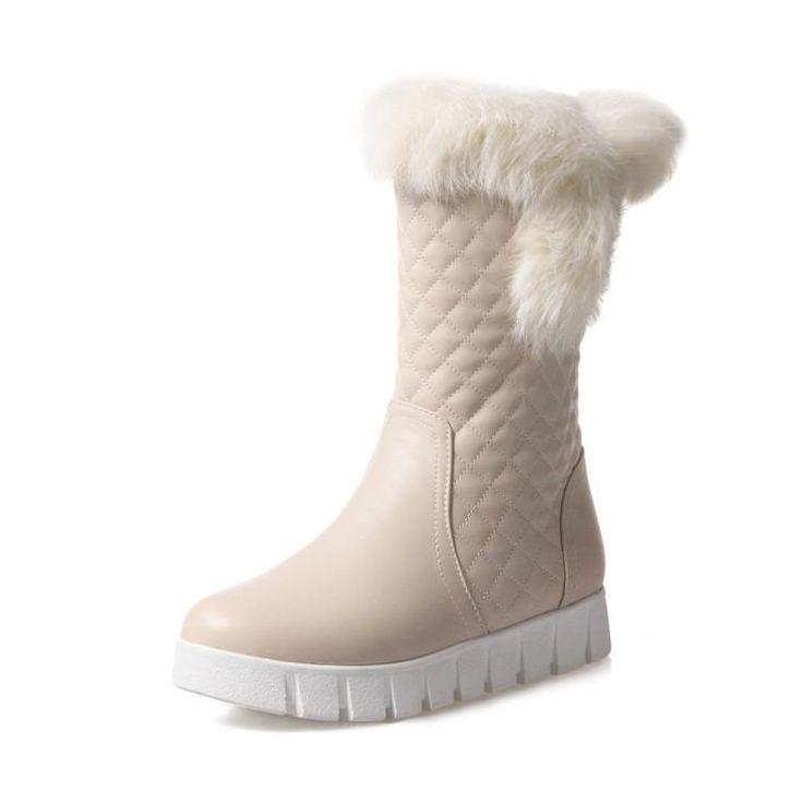 Fur Platform Mid Calf Snow Boots for Women 8881
