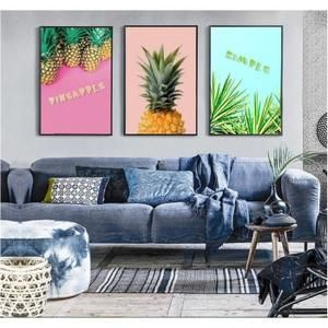 Nordique Minimaliste Or Ananas 3 Pieces Peinture Decorative Mur Art