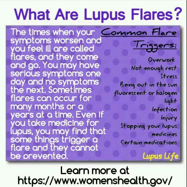 Lupus Flares. I noticed this site is women's health but this affects men as well, albeit not as many by ratio.