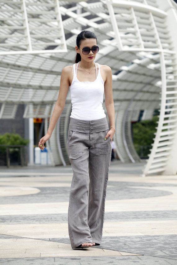 Elegance Casual Splicing Edging Straight Low-waist Pants in Grey - NC401 on Etsy, $64.99