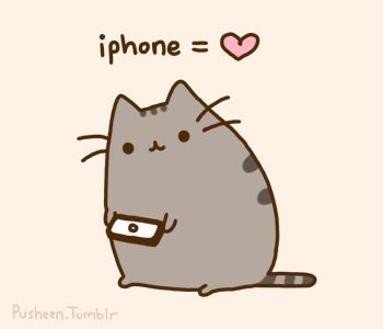 Now even my favorite animated cat, Pusheen, is mocking my lack of iPhone. Meh.