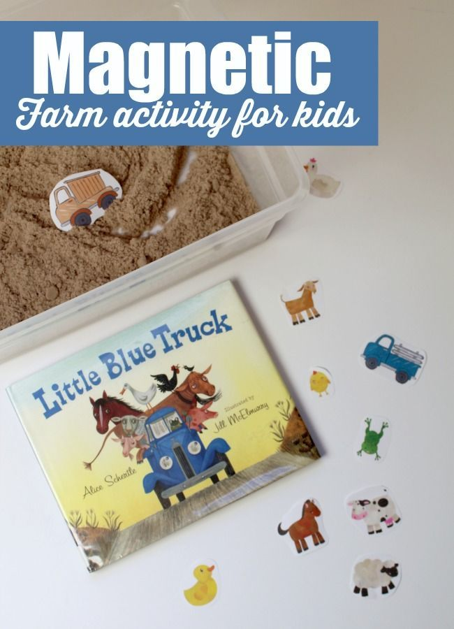 Recreate the scenes from the adorable children' book Little Blue Truck with this magnetic farm activity for kids for a hands on play idea with a book.