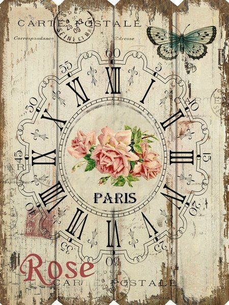 French Paris roses rectangular clock