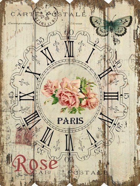 French Paris Roses Rectangular Clock Home Decor Clocks Pinterest Clock Paris And Roses