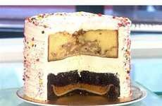 Flying Monkey Pumpple -- 2 layers of cake, vanilla and chocolate; within the cake is an apple pie (vanilla) and pumpkin pie (chocolate) baked in.  Covered in buttercream icing.  1 slice of the 15 lb dessert + 1800 calories (slice is a foot tall)