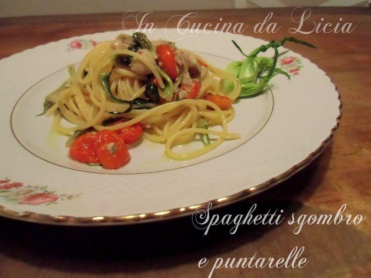 Spaghetti+sgombro+con+puntarelle+e+pomodori+confit
