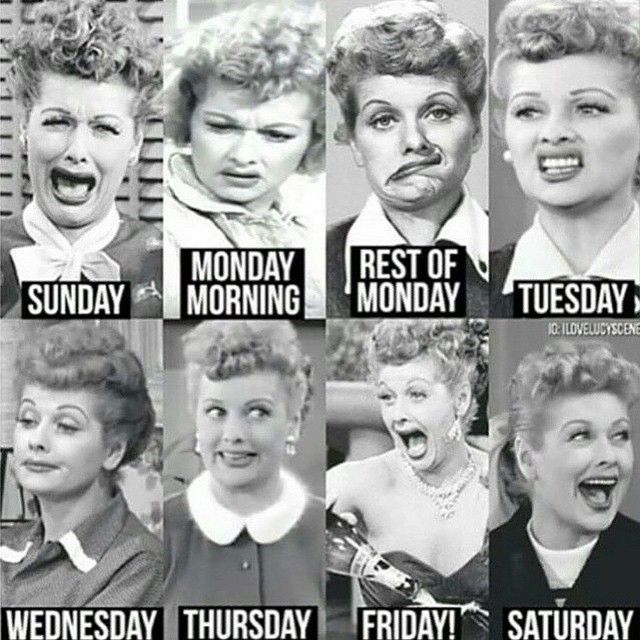 Days of the week according to Lucille Ball...I kinda love every one of her faces! Which one is yours today? Ha ha #I❤️Lucy