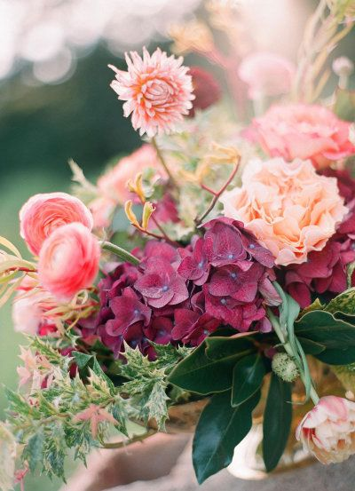 Hydrangeas, dahlias, ranunculus, tulips, roses