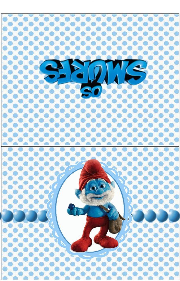 """kit de aniversário """"os smurfs"""" para menino-cone para guloseimas smurfs, convite, cestinha smurfs, etc.... - Convites Digitais Simples"""