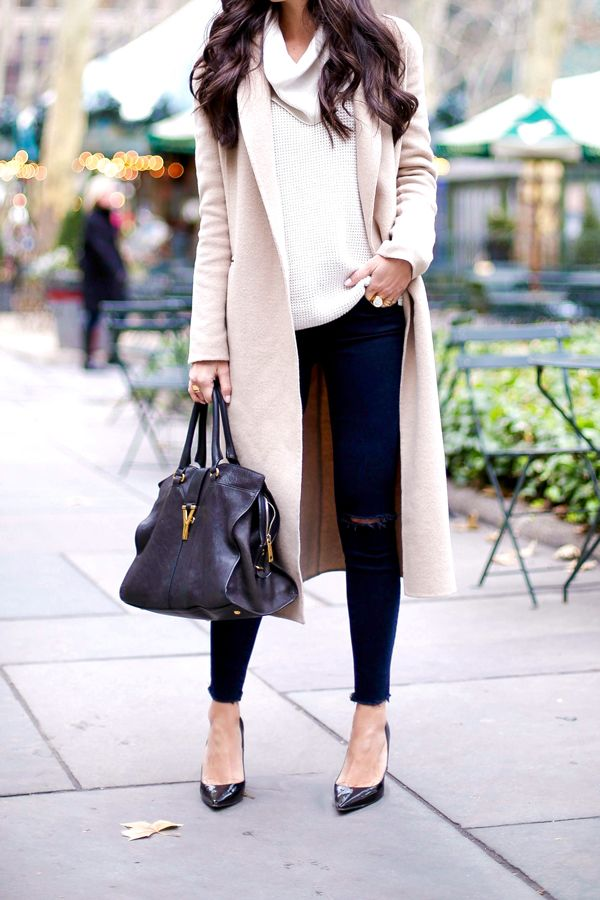 Sandro camel coat with Michael Kors cowl neck sweater, J Brand ripped skinny jeans, and Jimmy Choo heels.