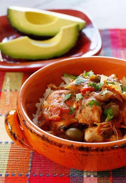 Chicken a la Criolla (boneless skinless chicken thighs, onion, garlic, bell pepper, tomatoes, pitted spanish olives, tomato sauce, oregano, cumin, salt, bay leaf, cilantro) - GF
