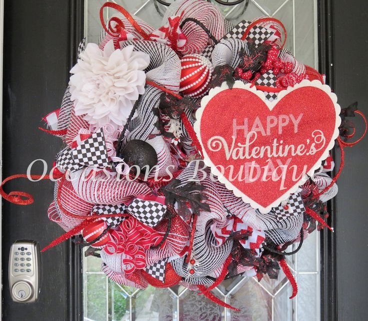 Valentine's Day Wreath, Valentine's Decoration, Front door wreaths, Wreath for door, Large Wreath, Valentine's Day Gift, Ready to Ship by OccasionsBoutique on Etsy
