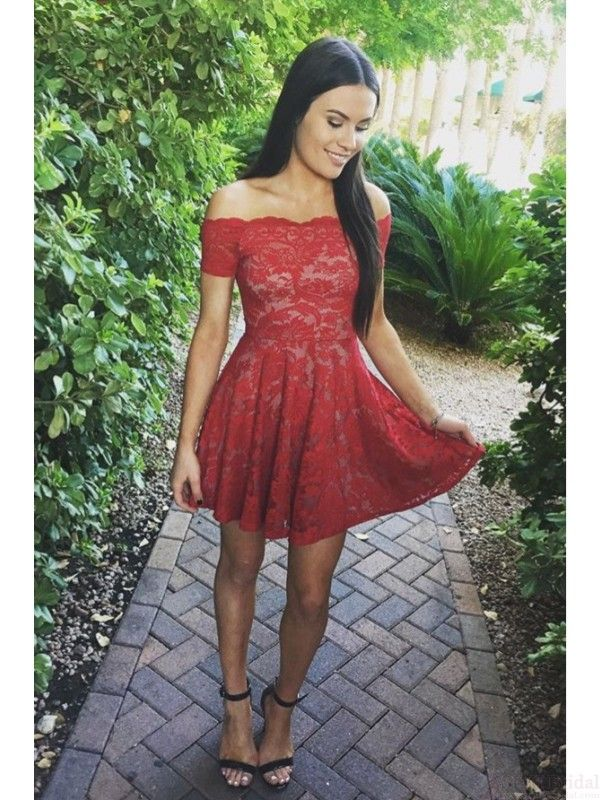 red homecoming dresses, off shoulder homecoming dresses, lace homecoming dresses,short prom dresses #promdresses #homecomingdresses
