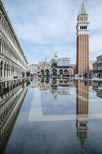 St Mark Basilica and San Marco Campanile at San Marco Square, Venice, Italy (Built in 1093)
