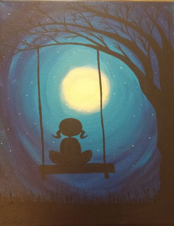 swinging in the moonlight acrylic painting by melacrylics on Etsy