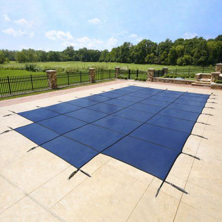 Blue Wave 18-Year Mesh 18-ft x 36-ft In-Ground Pool Safety Cover w/ 4-ft x 8-ft Center Step - Blue