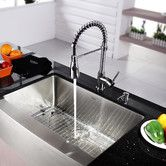 Found it at Wayfair - Kraus 30 inch Farmhouse Single Bowl Stainless Steel Kitchen Sink with Kitchen Faucet and Soap Dispenser