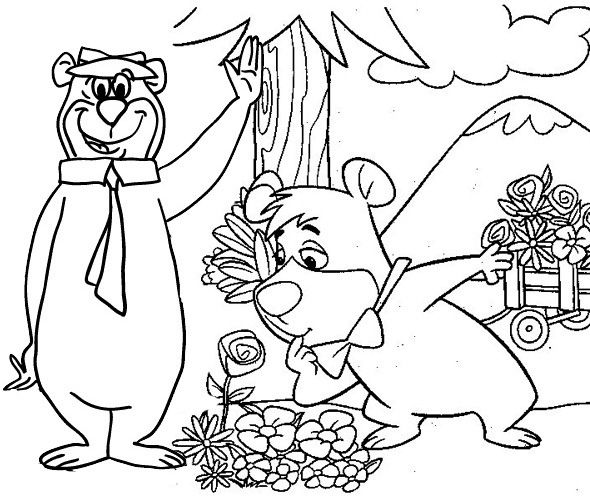 Yogi Bear And Boo Boo In The Flower Garden Coloring Page Bear Coloring Pages Garden Coloring Pages Coloring Pages