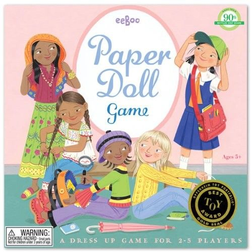 """Paper Doll Game - A multi-cultural paper dolls game where players select clothing and a hobby. """"Pursue your vision with a passion.... there's more to life than only fashion! The first one dressed and on her way, has won the game.""""  (age 4 to 8)"""